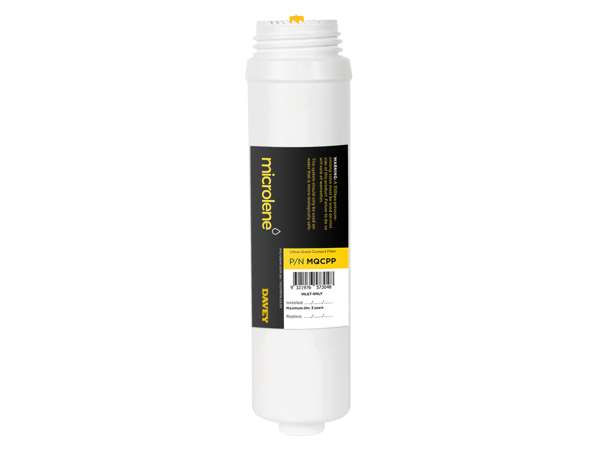 Microlene Under Bench Filtration - Urban MQCPP: Quick connect mains water filter replacement